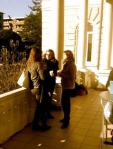 Kaffee Pause auf der Terrasse der USI